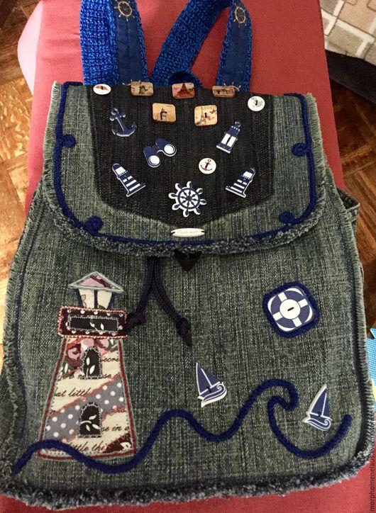 Рюкзаки ручной работы. Ярмарка Мастеров - ручная работа. Купить Рюкзак джинсовый. Handmade. Тёмно-синий, рюкзак