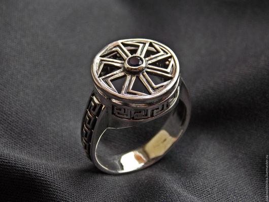 Кольцо `Славянский перстень` с вращающимся символом Коловрат в серебре