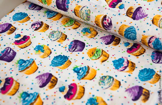 """Шитье ручной работы. Ярмарка Мастеров - ручная работа. Купить Ткань """"Пирожные"""" В НАЛИЧИИ. Handmade. Ткань для творчества"""