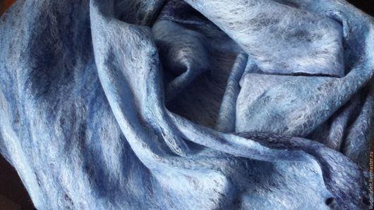 """Шарфы и шарфики ручной работы. Ярмарка Мастеров - ручная работа. Купить Валяный шарф паутинка """"Январское утро"""". Handmade. Голубой"""