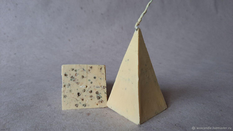 Травяная восковая свеча Пирамида БЕЛАЯ С ЖАСМИНОМ, Ритуальная свеча, Новосибирск,  Фото №1