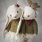 Куклы и игрушки ручной работы. Ярмарка Мастеров - ручная работа Миша и Зайка новогодние. Handmade.