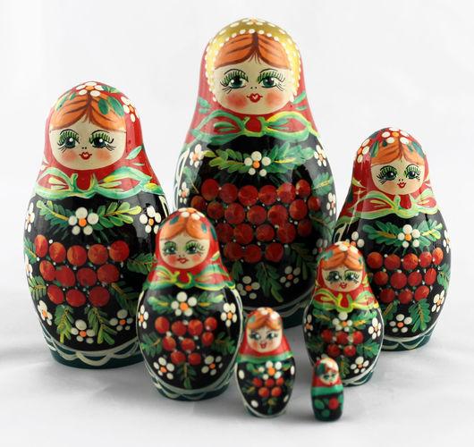 Матрешки ручной работы. Ярмарка Мастеров - ручная работа. Купить Рябина матрешка, традиционная роспись, деревянная кукла из 7 мест. Handmade.