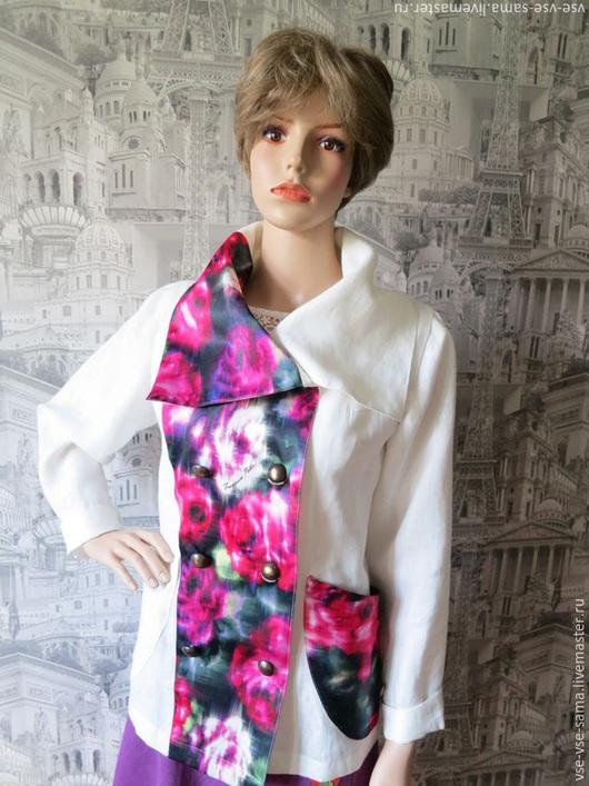 Пиджаки, жакеты ручной работы. Ярмарка Мастеров - ручная работа. Купить Льняной жакет с атласными вставками. Handmade. Разноцветный