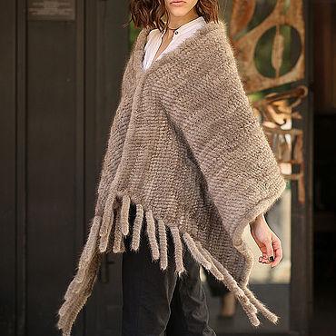 Одежда ручной работы. Ярмарка Мастеров - ручная работа Пончо: из вязаной норки. Handmade.