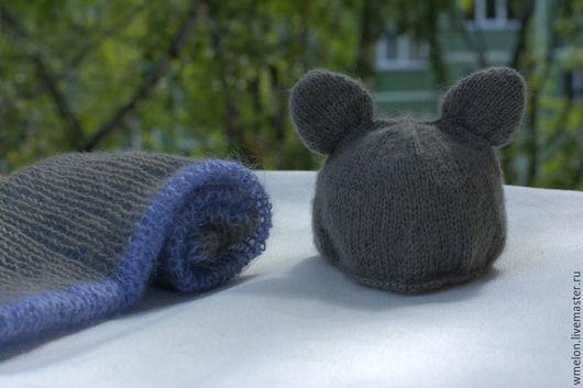 """Для новорожденных, ручной работы. Ярмарка Мастеров - ручная работа. Купить Комплект для фотосессии """"летучая мышка. Handmade. Темно-серый"""