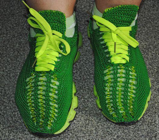 Обувь ручной работы. Ярмарка Мастеров - ручная работа. Купить Вязаные кроссовки. Handmade. Зеленый, обувь на заказ, кроссовки вязаные