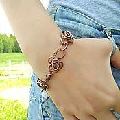 Украшения handmade. Livemaster - original item Bracelet Women on Hand for Girls Flowers Roses Wire Metal Copper. Handmade.