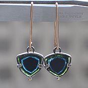 handmade. Livemaster - original item Tourmaline indigolite earrings, silver, Goldfield, gold. Handmade.