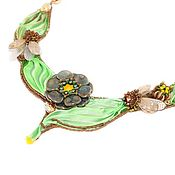 Украшения handmade. Livemaster - original item Necklace Summer garden with the Shibori silk ribbon. Handmade.