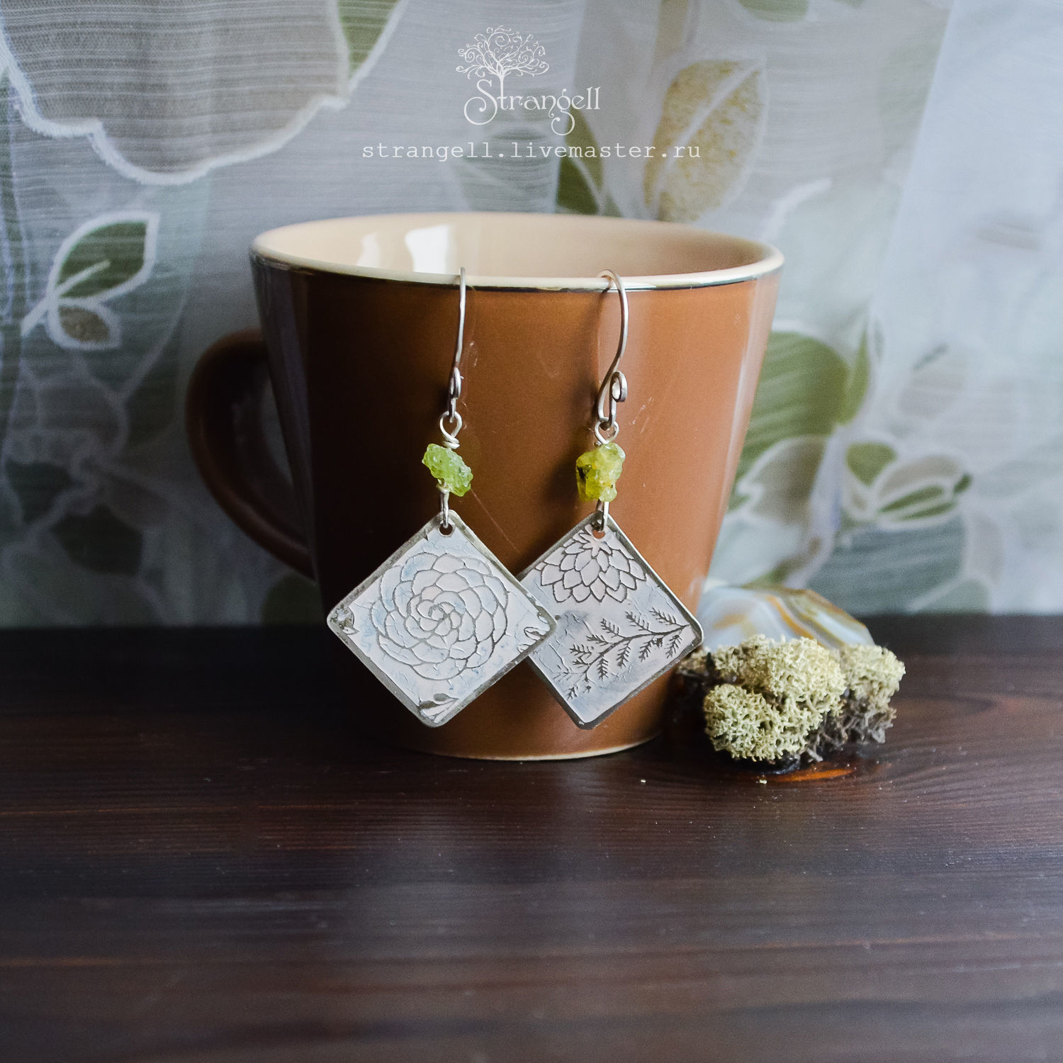 Boho earrings with chrysolite Silver earrings with nature ornament white, Earrings, Ulan-Ude,  Фото №1