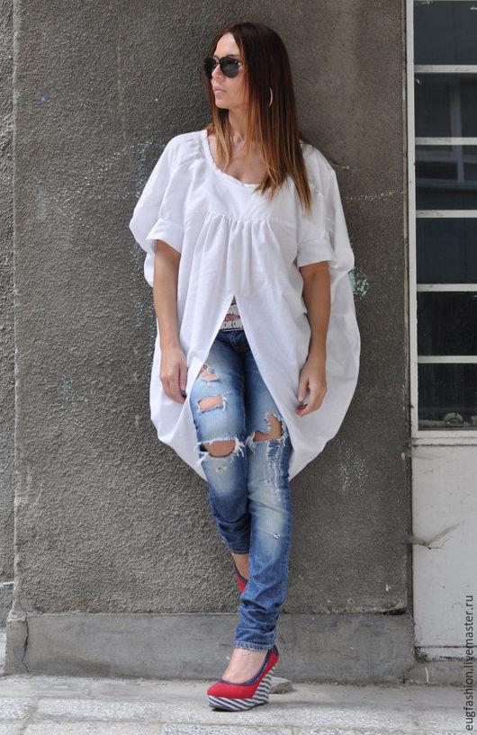 Блузка из хлопка. Блузка с короткими рукавами. Блузка ручной работы.
