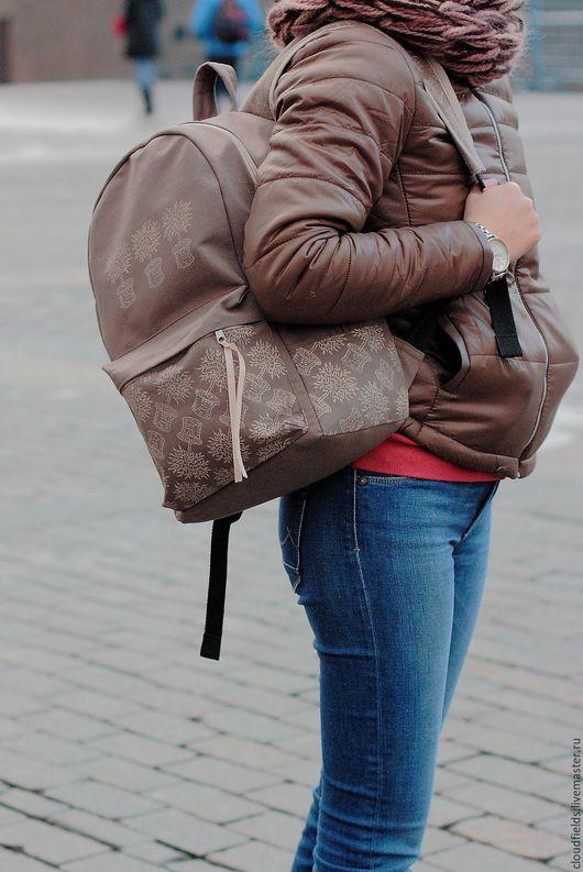 """Рюкзаки ручной работы. Ярмарка Мастеров - ручная работа. Купить Рюкзак из хлопка """"Прогулка"""". Handmade. Коричневый, рюкзак для девушки"""