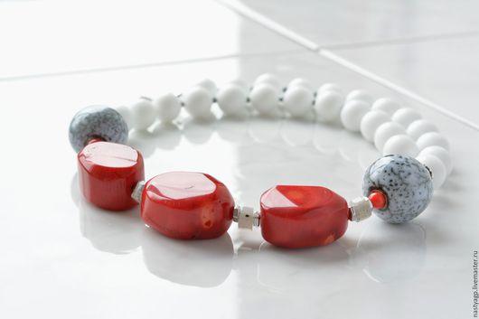 бусы колье купить подарок коралловые бусы летнее украшение летоморе морской стиль