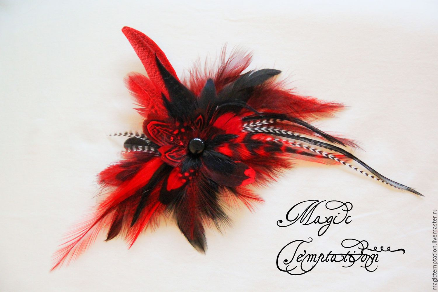 1393b7003 Bright red and black hair clip brooch with feathers of pheasant, ...