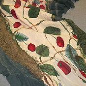 Аксессуары ручной работы. Ярмарка Мастеров - ручная работа валяный палантин Спелая вишня. Handmade.
