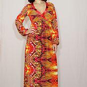 Одежда ручной работы. Ярмарка Мастеров - ручная работа Красно-оранжевое платье,платье с длинным рукавом,принт огни. Handmade.