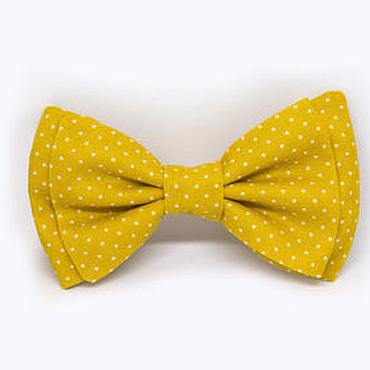 Аксессуары ручной работы. Ярмарка Мастеров - ручная работа Галстук-бабочка желтый в горошек. Handmade.