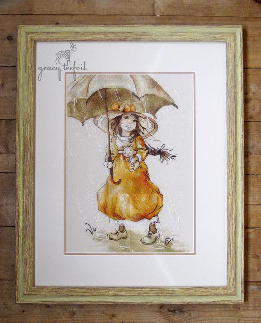 """Люди, ручной работы. Ярмарка Мастеров - ручная работа. Купить Картина вышивка крестом """"Летний дождь"""". Handmade. Комбинированный"""