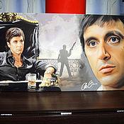 Картины и панно ручной работы. Ярмарка Мастеров - ручная работа Картина «Лицо со шрамом» с автографом Аль Пачино. Handmade.
