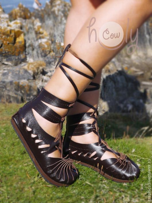 """Обувь ручной работы. Ярмарка Мастеров - ручная работа. Купить Темно-коричневые кожаные сандалии """"Leche Dream"""". Handmade. Коричневый"""