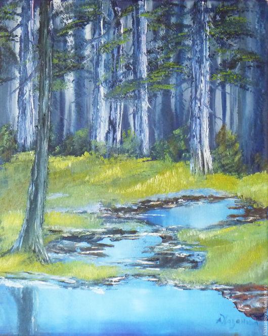 """Пейзаж ручной работы. Ярмарка Мастеров - ручная работа. Купить """"Весна в сосновом лесу"""" (холст/масло). Handmade. Тёмно-синий, весна"""