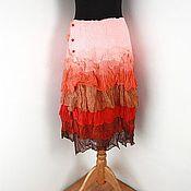 Одежда ручной работы. Ярмарка Мастеров - ручная работа Бохо Юбка из шелка и шерсти. Handmade.
