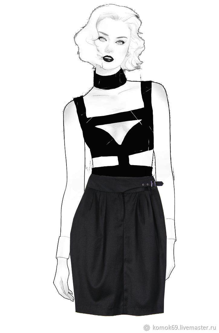 Винтаж: Размер 44. Юбка-тюльпан с карманами черного цвета, Винтажная одежда, Нелидово,  Фото №1