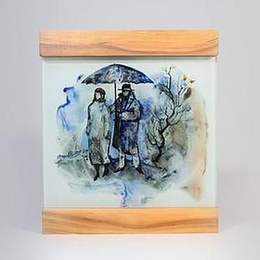 """Картины и панно ручной работы. Ярмарка Мастеров - ручная работа Стеклянная картина """"Двое под зонтом"""". Handmade."""