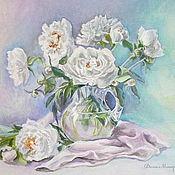 """Картины и панно handmade. Livemaster - original item Still life """"Marshmallow-mint tenderness of white peonies"""". Handmade."""