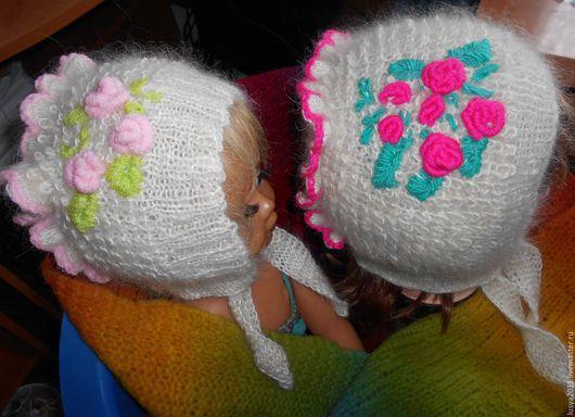 Шапки и шарфы ручной работы. Ярмарка Мастеров - ручная работа. Купить Пуховая шапочка с розочками. Handmade. Шапка, теплая шапочка