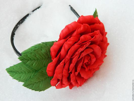 """Диадемы, обручи ручной работы. Ярмарка Мастеров - ручная работа. Купить Ободок """"Красная роза"""". из фоамирана. Handmade. Ободок"""