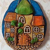 """Картины и панно ручной работы. Ярмарка Мастеров - ручная работа Овальное панно """"Домики"""". Handmade."""