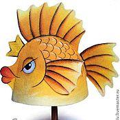 """Для дома и интерьера ручной работы. Ярмарка Мастеров - ручная работа Шапка для бани """"Золотая рыбка"""". Handmade."""