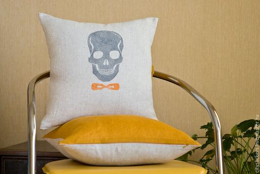 Текстиль, ковры ручной работы. Ярмарка Мастеров - ручная работа. Купить Черепушка - чехол для декоративной подушки. Handmade. Бежевый