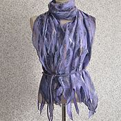 Аксессуары handmade. Livemaster - original item Anniversary gift for a woman Felted scarf stole on silk Lilac. Handmade.