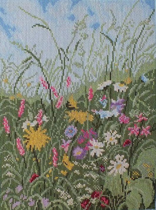 """Пейзаж ручной работы. Ярмарка Мастеров - ручная работа. Купить """"Луговые травы"""" вышитая картина. Handmade. Луг"""