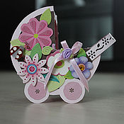 Подарки к праздникам ручной работы. Ярмарка Мастеров - ручная работа открытка-коляска для новорожденной. Handmade.