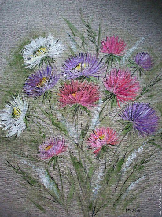 Картины цветов ручной работы. Ярмарка Мастеров - ручная работа. Купить Роспись на льне .....Осенние астры...... Handmade. Розовый