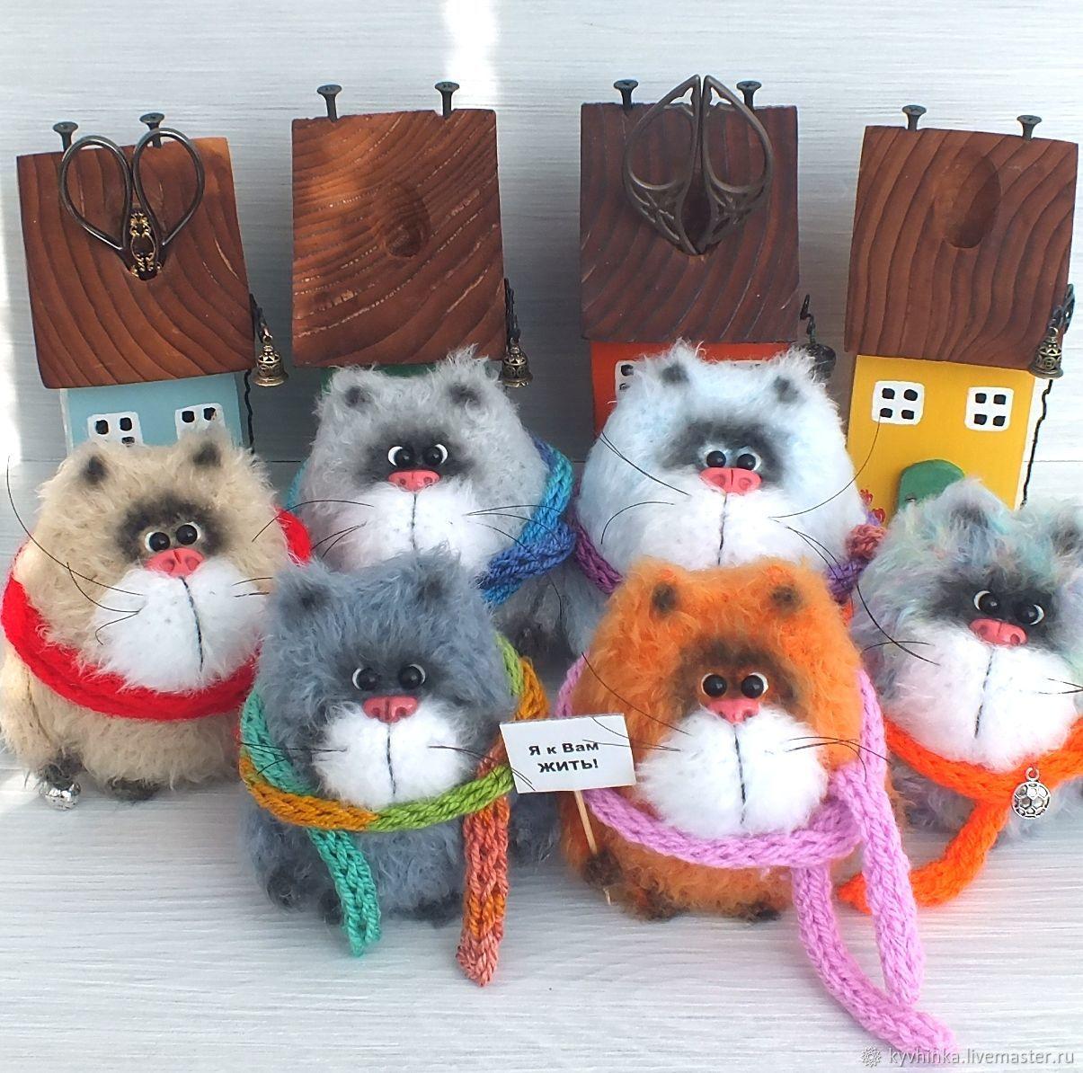 Котик на ладошке (кот, вязаный кот, подарок), Мягкие игрушки, Волгоград,  Фото №1