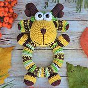 Куклы и игрушки handmade. Livemaster - original item Lamb Round - rattle on a wooden ring, crocheted. Handmade.