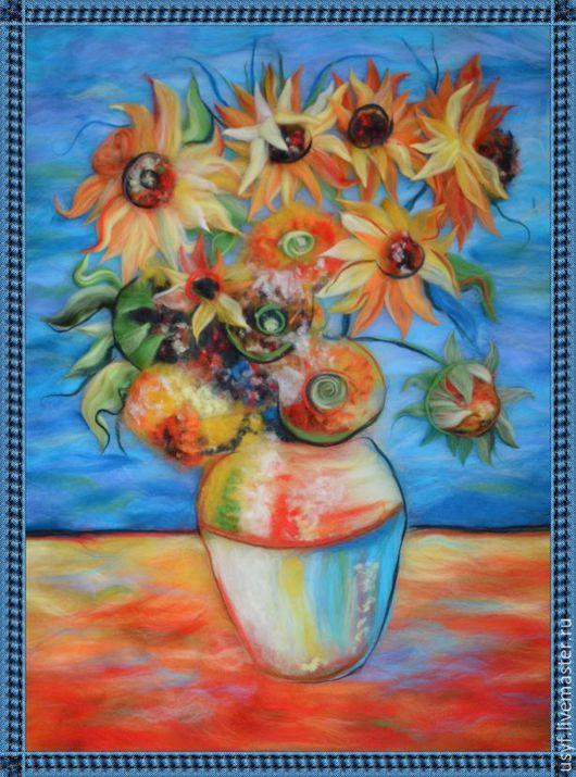 """Картины цветов ручной работы. Ярмарка Мастеров - ручная работа. Купить картина шерсть под стекло """"Подсолнухи"""" (по творчеству Ван Гога). Handmade."""