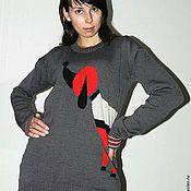 """Одежда ручной работы. Ярмарка Мастеров - ручная работа джемпер """"Озорной песик"""" (женский пуловер,женский свитер,собачка). Handmade."""