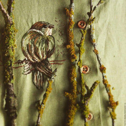 """Платья ручной работы. Ярмарка Мастеров - ручная работа. Купить Платье """"Птаха"""". Handmade. Оливковый, льняное платье, деревянные пуговицы"""