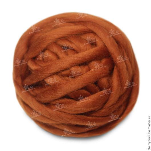 Толстая пряжа - 100% шерсть. Цвет: каштан