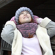 Аксессуары handmade. Livemaster - original item Snood (hooded scarf) in one revolution of the large knitted pink and grey. Handmade.