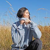 Одежда handmade. Livemaster - original item Knitted sweater, Merino wool MISTY MORNING jumper. Handmade.