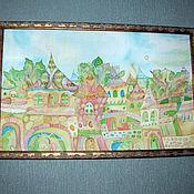 """Картины и панно ручной работы. Ярмарка Мастеров - ручная работа Картина батик """"Изумрудный город"""". Handmade."""