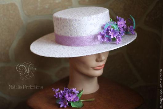 """Шляпы ручной работы. Ярмарка Мастеров - ручная работа. Купить Эксклюзивная шляпа-канотье """"Violettes de Toulouse"""" (Тулузские фиалки. Handmade."""