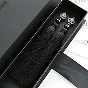 Украшения handmade. Livemaster - original item Black earrings brush with carnations - crowns. Handmade.